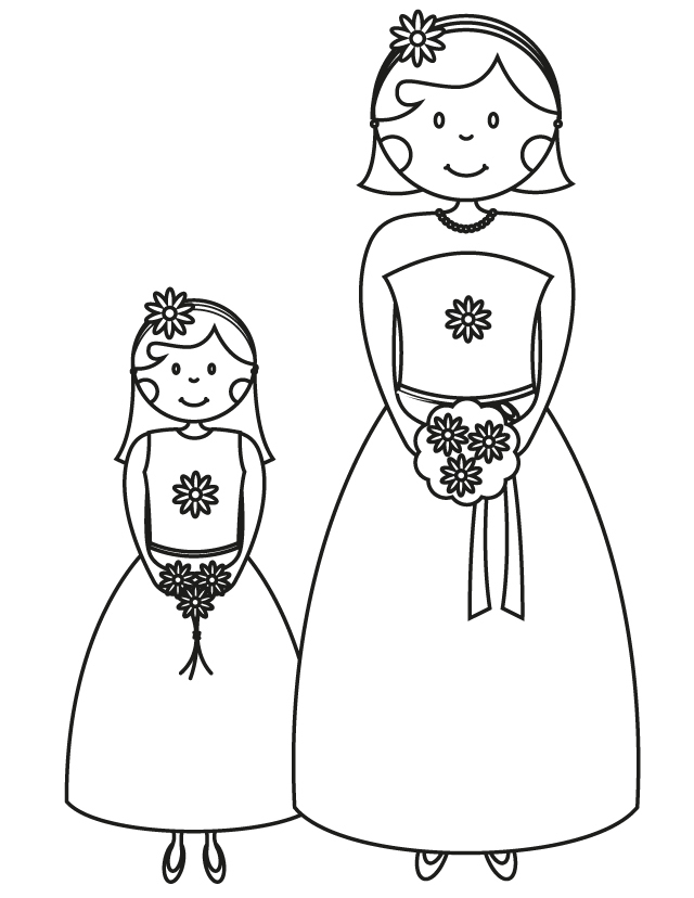 Wedding coloring pages: Bridesmaid flowergirl