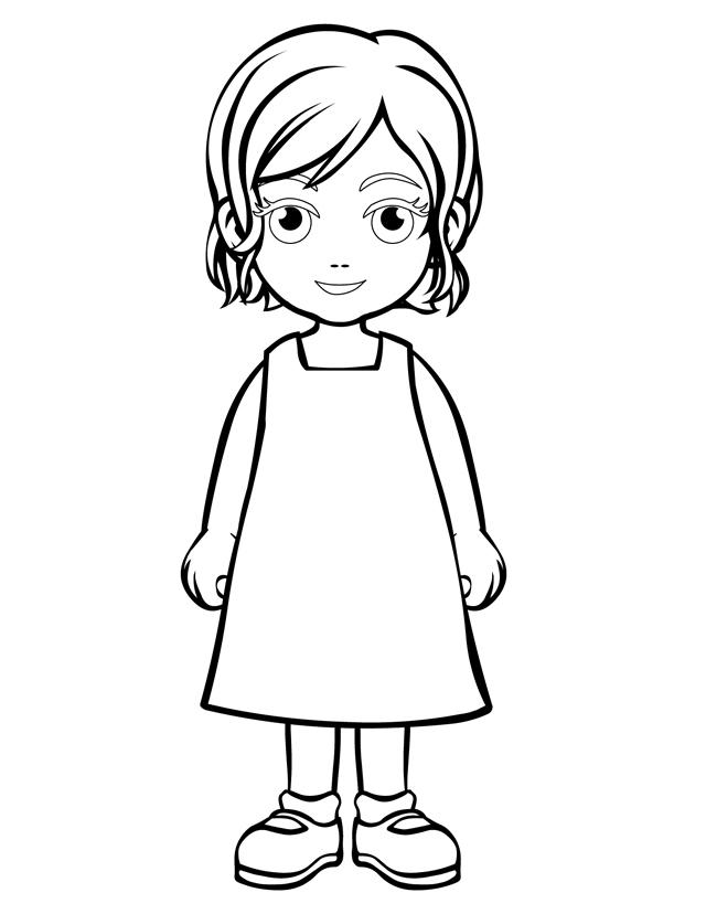 People and places coloring pages: Little girl