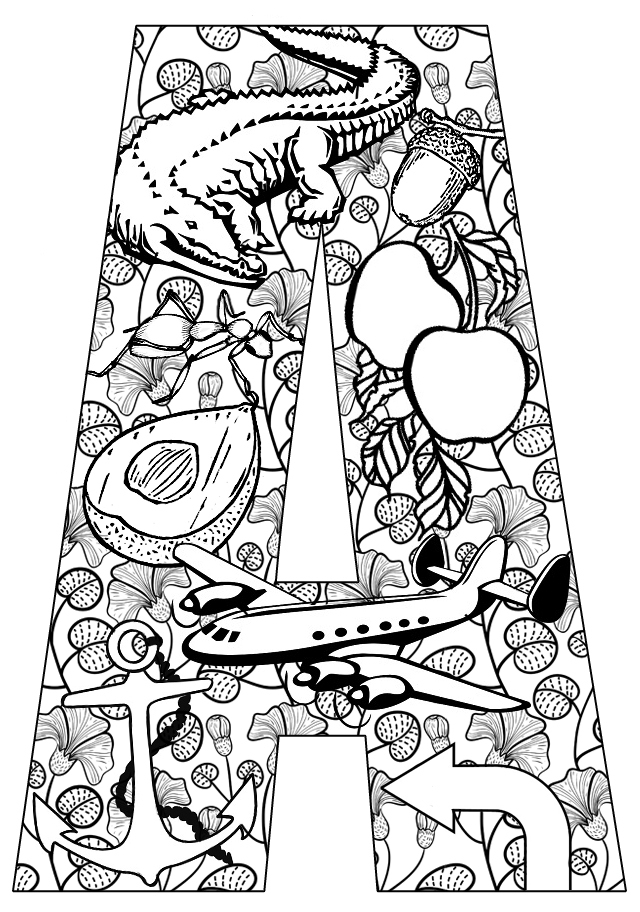 Things That Start With A Free Printable Coloring Pages