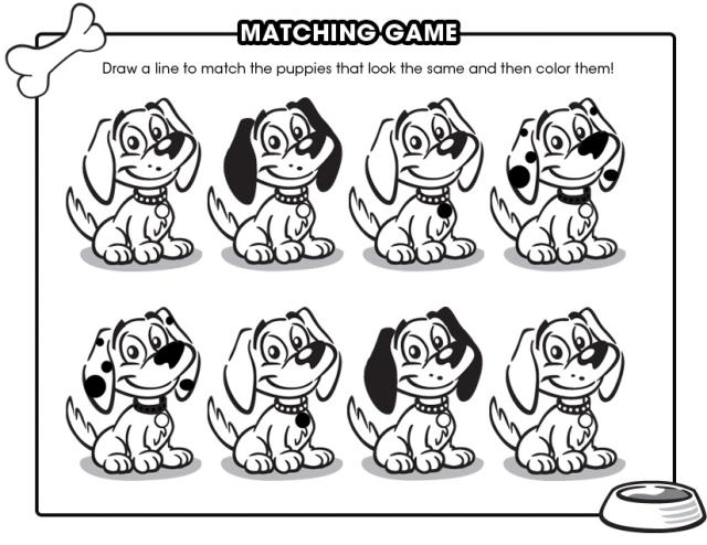 Printable Games & Activities: Matching puppies