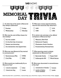 Memorial Day trivia - Free Printable Coloring Pages