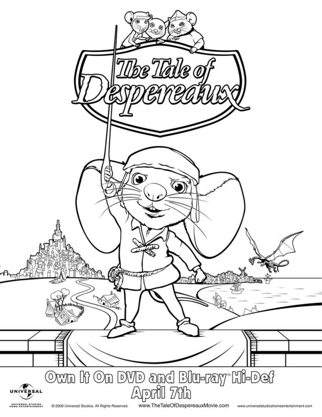 Character Coloring and Activity pages: Tale of Despereaux