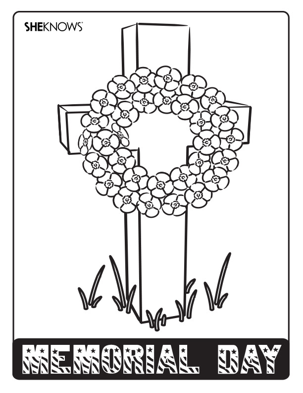 Memorial Day Wreath Free Printable Coloring Pages