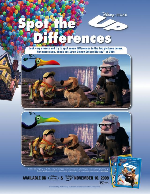Disneys Up Spot The Difference Free Printable Coloring