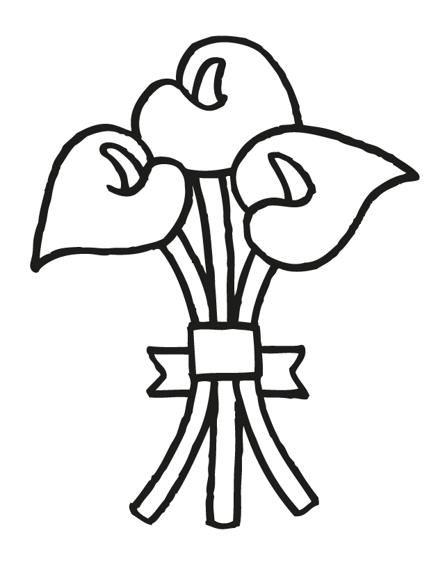 Wedding coloring pages: Wedding bouquet 1