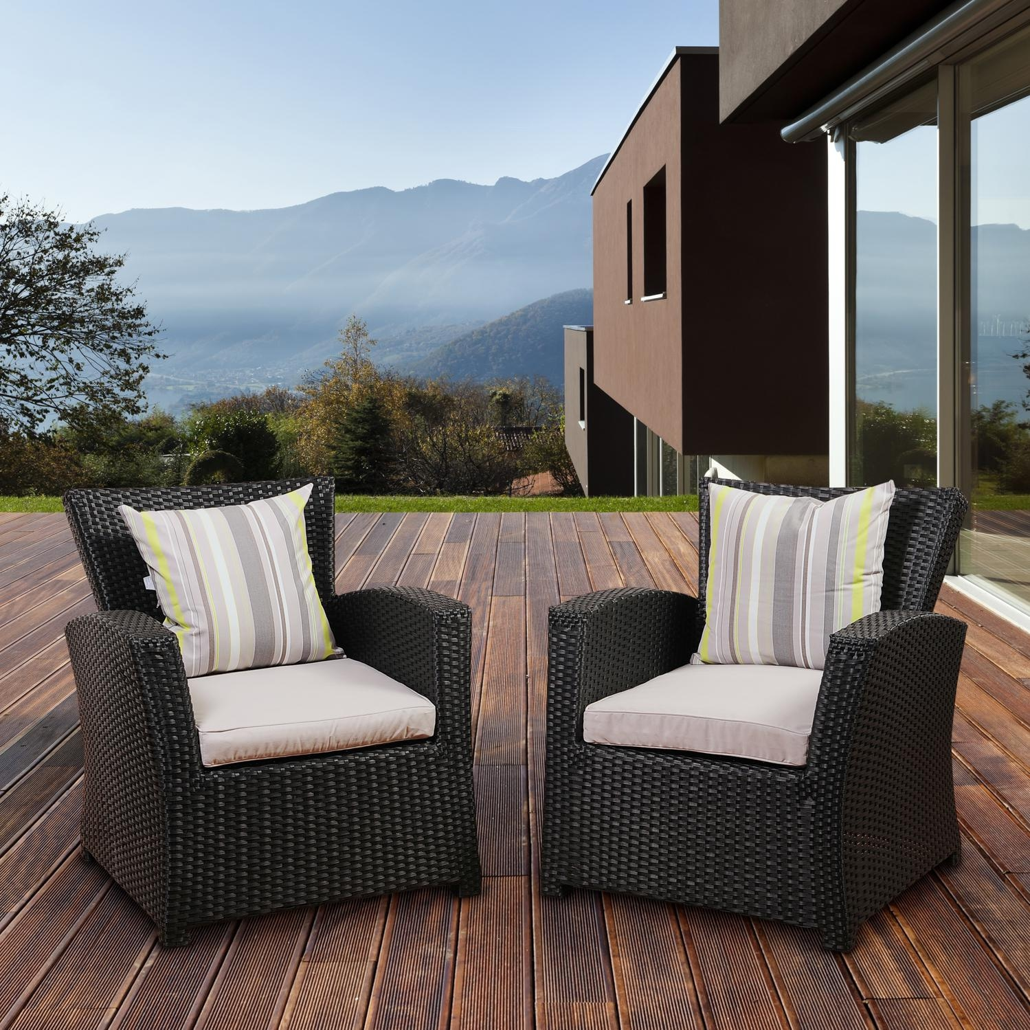 Outdoor Chair Set Atlantic Staffordshire Resin Wicker Patio Club Chair Set Of 2 Black
