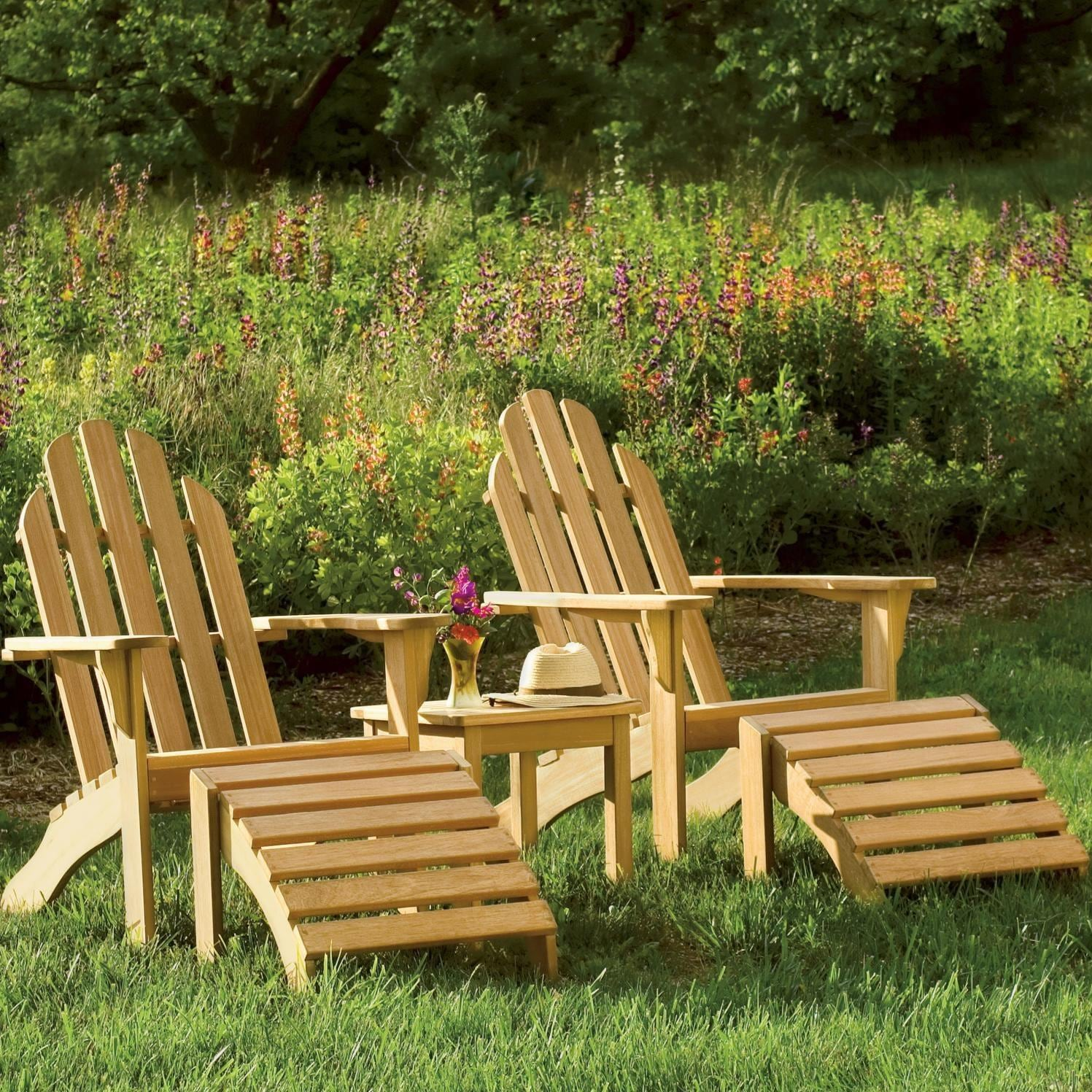 Garden Chair Oxford Garden Adirondack 2 Person Wood Patio Conversation