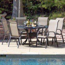 Madison Bay 7 Piece Sling Patio Dining Set With Stacking
