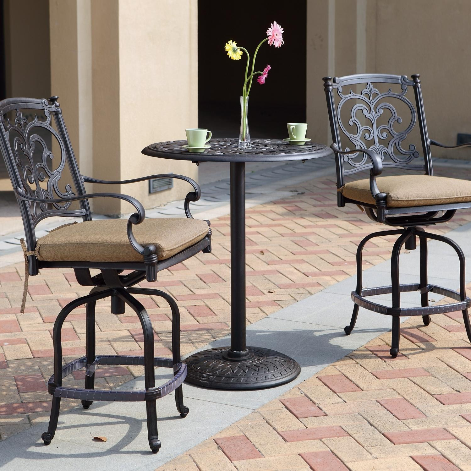 Darlee Santa Barbara 3 Piece Cast Aluminum Patio Counter