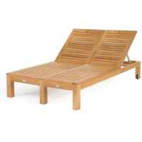 Caluco Teak Wood Patio Double Chaise Lounge ...