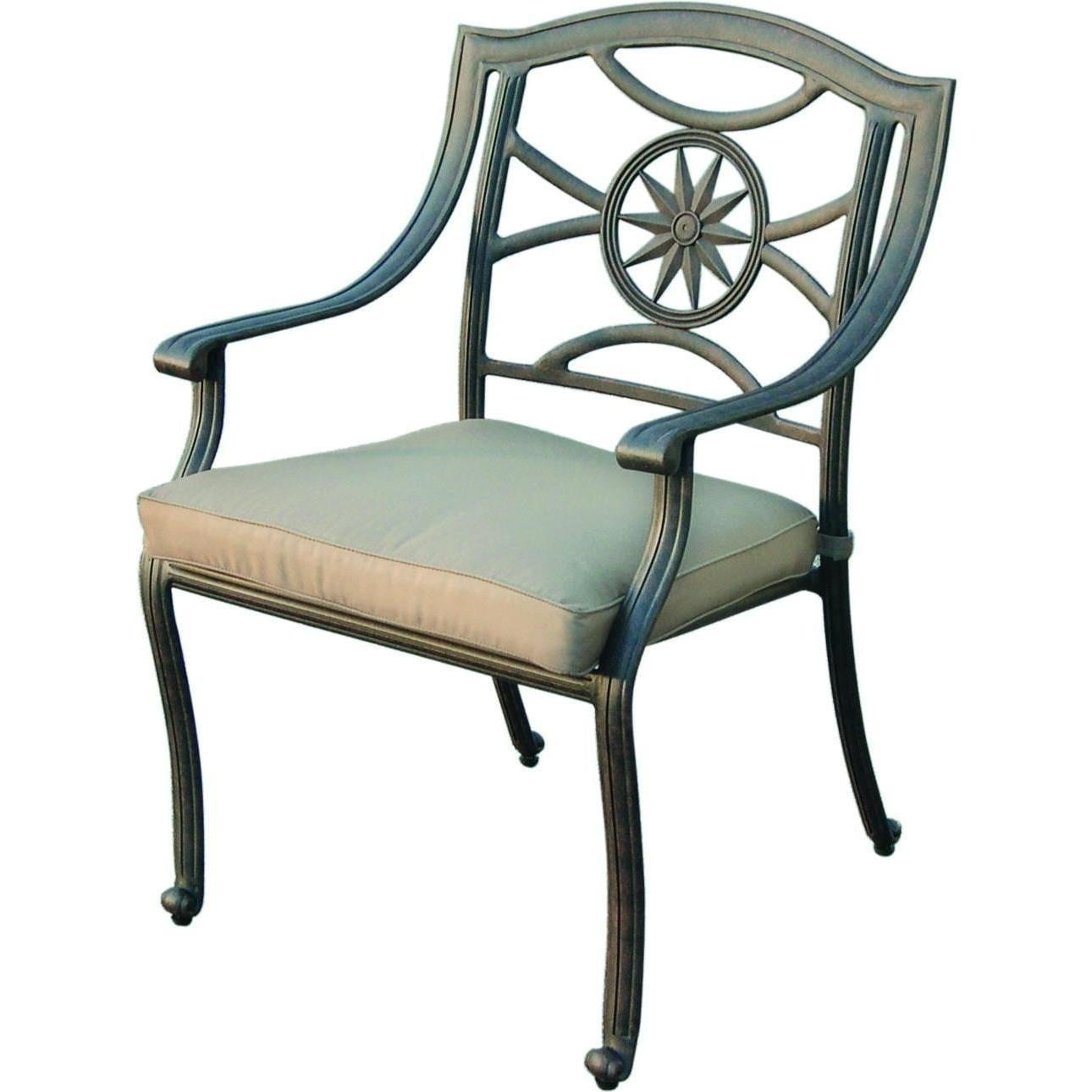 tall patio chairs with arms comfy lounge for bedroom darlee ten star cast aluminum dining chair bbq guys