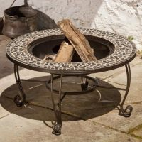 Vulcano Mosaic Wood Burning Fire Pit Table By Alfresco ...