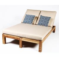 Caluco Teak Wood Patio Double Chaise Lounge : Ultimate Patio