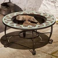 Le Mans Mosaic Wood Burning Fire Pit Table By Alfresco ...