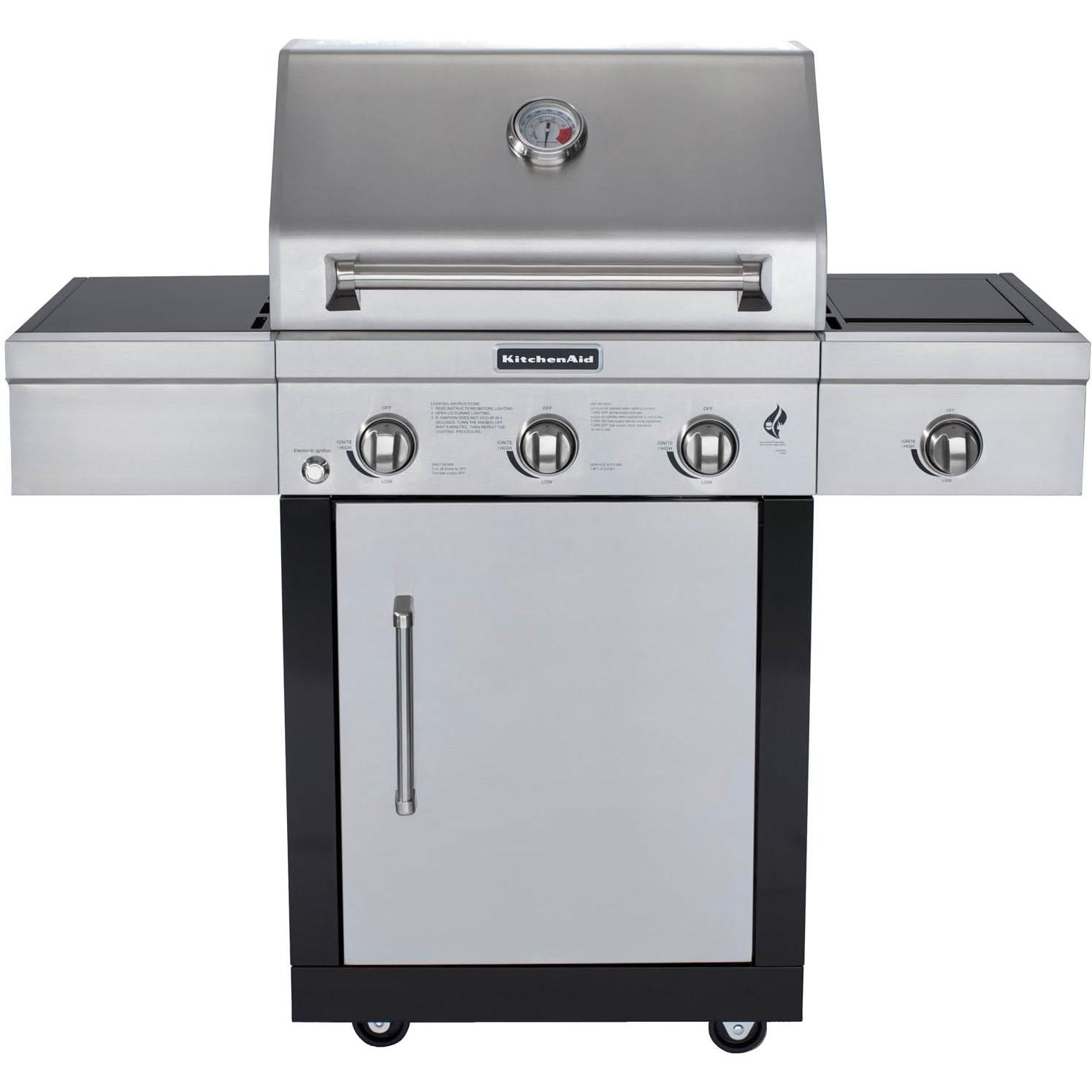 kitchen aid bbq awesome cabinets kitchenaid 25 inch propane gas grill on cart with side burner guys