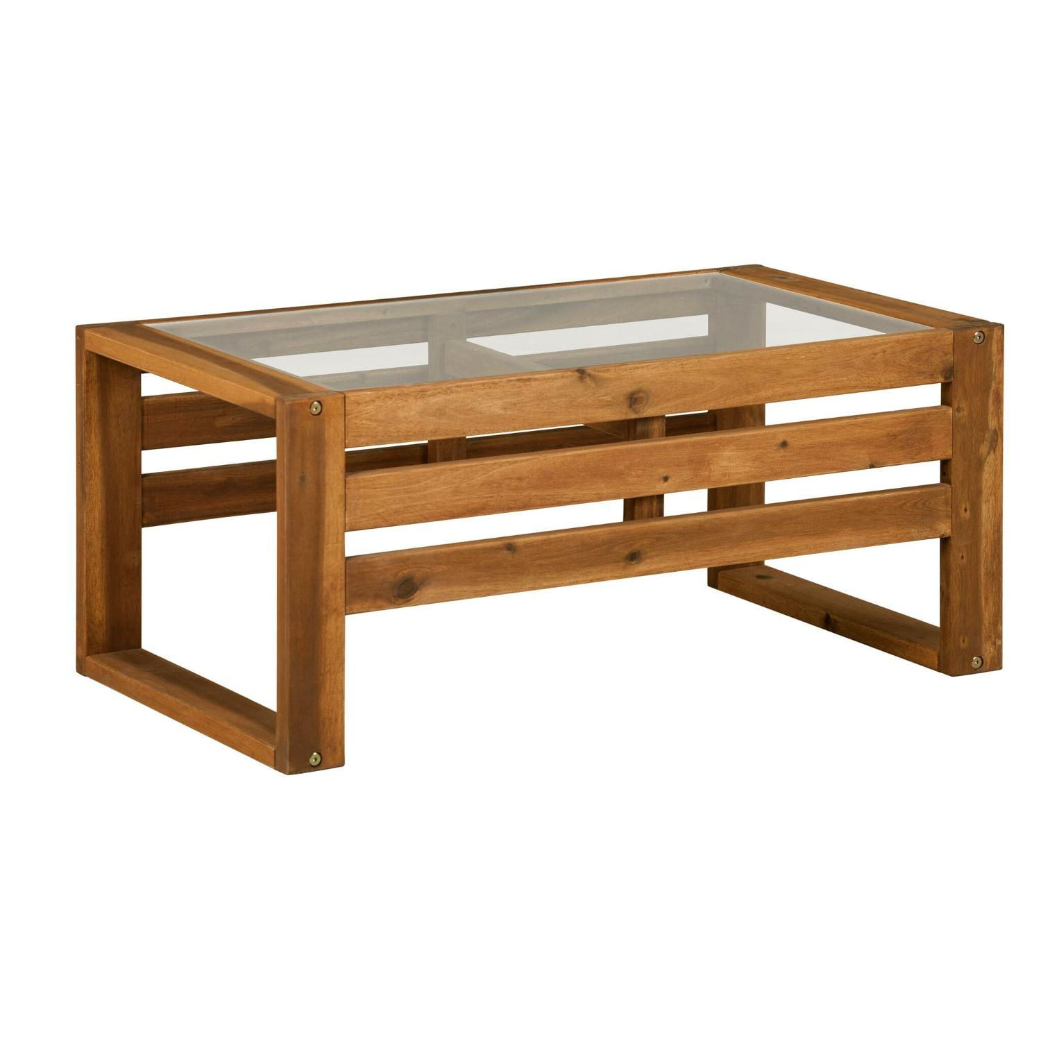 hudson 36 x 20 inch rectangular acacia patio coffee table by walker edison