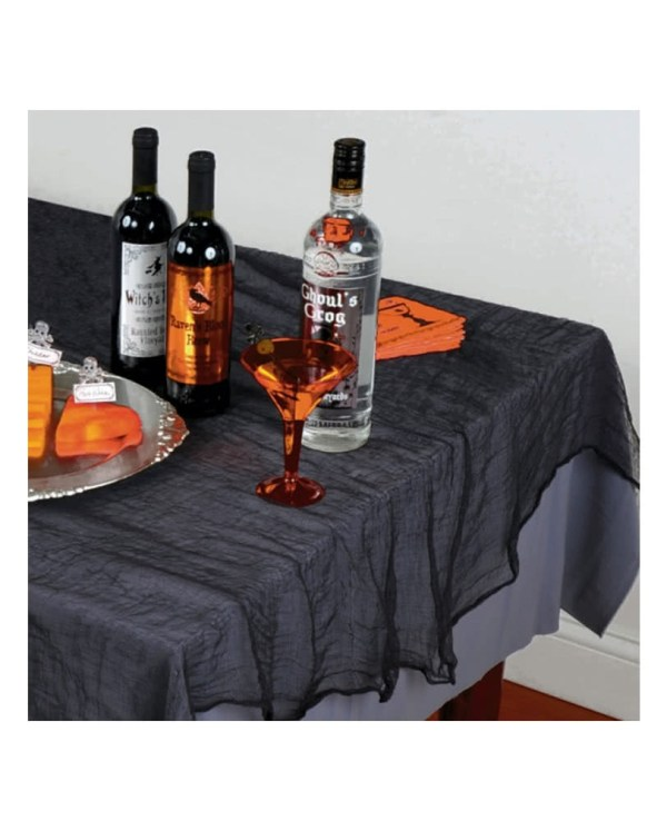 Black Halloween decoration fabric | Creepy Shred tablecloth | horror-shop.com