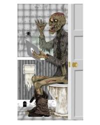 Skeleton motif bathroom door decoration film | Halloween ...