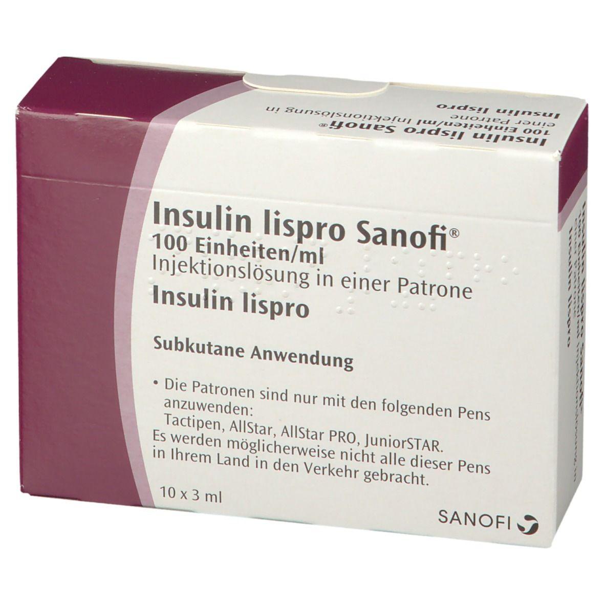 INSULIN LISPRO Sanofi 100 E/ml Inj.-Lsg.Patrone 10X3 ml ...