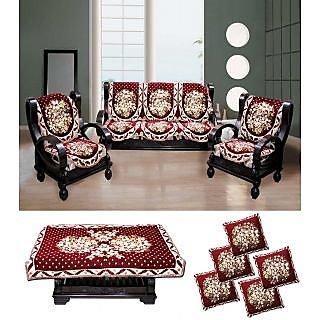 sofa cover cloth rate convertible bed india fk golden maroon floral velvet covers table fkgoldenmaroonfloralvelvetsofacoverstablecovercushioncoverset1428663780 jpg