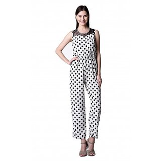 Westrobe Black,White Crepe Dotted Jumpsuits For Women: Buy