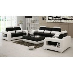 3 2 Leather Sofa Set Sofas Tables And More Buy Black White 1 Seater With Center Table Glass
