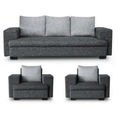 5 Seater Sofa Set Under 20000 Contemporary Armchairs Buy Gioteak Cuba In Grey Color 3 1 Online Get