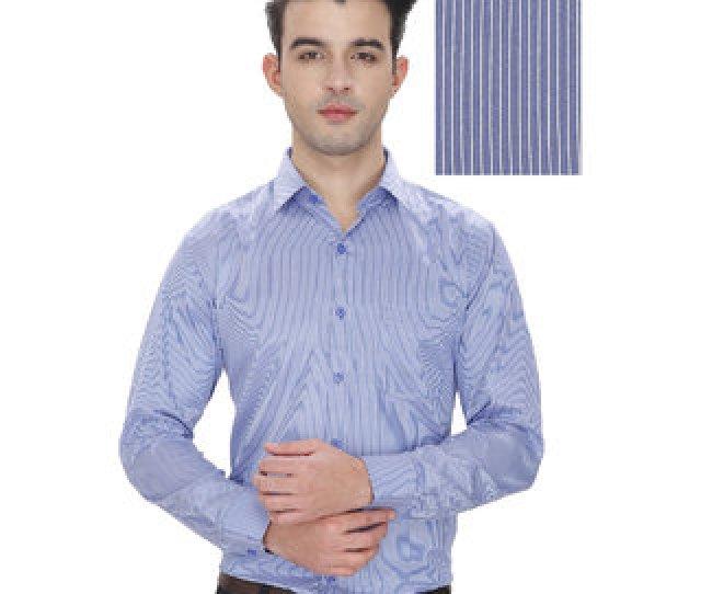 Enf Mens Striped Formal Blue Shirt