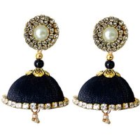 Handmade Silk Thread Black Dangler Jhumka Earrings Model 1