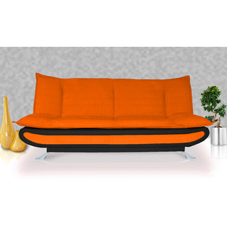 orange and black sofa bed in spanish buy elite adorn homez 3 seater fabric leather online get 65 off