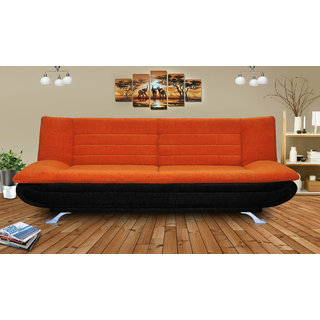 orange and black sofa bed ashley furniture durablend reclining buy elite adorn homez 3 seater fabric online