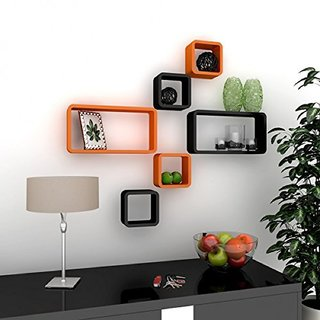 shelving for living room walls armless accent chairs buy santosha decor wall decoration shelf cube rectangle designer rack and shelves orange black set of 6 online 1799 from