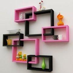 Shelving For Living Room Walls Best Feng Shui Pictures Buy Santosha Decor Wall Decoration Shelf Cube Rectangle Designer Rack And Shelves Pink Black Set Of 6