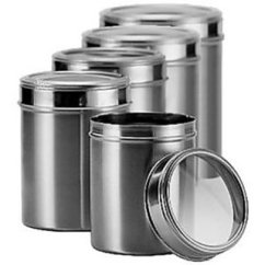 Canisters Kitchen Black Sink Lowes Stainless Steel Storage With See Through Lid Set Dynore Of 5 Size