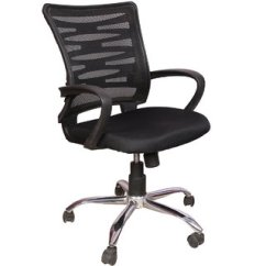 Revolving Chair For Kitchen Office Quill Buy Rajpura Zig-zag Medium Back With Centre Tilt Mechanism In Black Fabric And ...