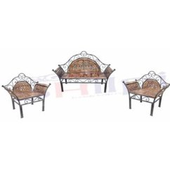 Fancy Sofa Set Design Sleeper Pull Out Couch Bed Deck Repair Kit Queen Buy Shilpi Wooden Iron Of 3 Pcs Traditional For Living Room