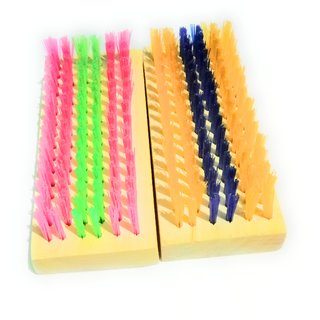 Cleaning floor Brush with wooden handel, Long lasting Brush, floor wash and bathrooms floor wash, colour as(set of 2)