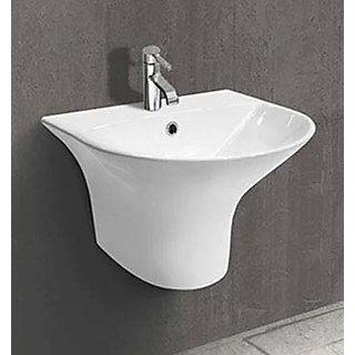 inart wash basin vessel sink slim rim for bathroom 19 x 17 half pedestal white