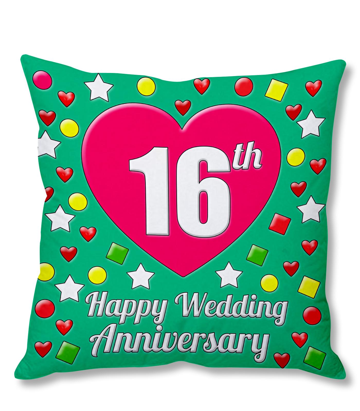 16th Happy Wedding Anniversary MultiColour Printed