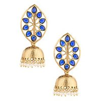 Voylla Gold Plated Designer Jhumki Drop Earrings Blue