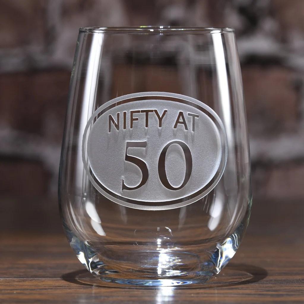 Engraved 50th Birthday Stemless Wine Glass - Crystal