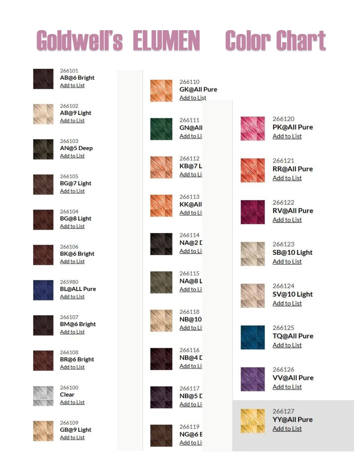 Elumen hair color chart gallery example ideas also goldwell book coloring pages rh mastheadprintstudio