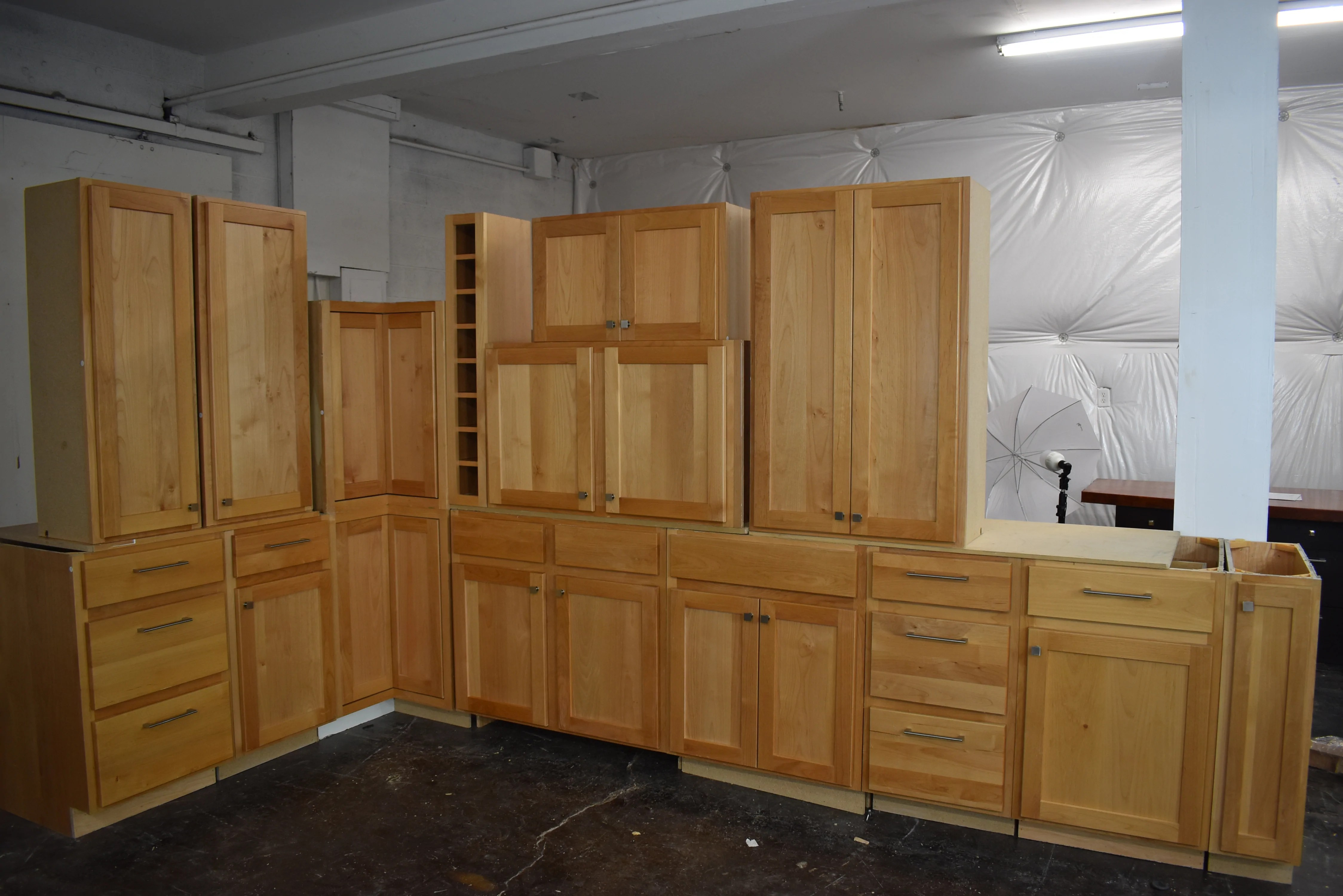 kitchen cabinet set countertop resurfacing natural shaker birch with brushed nickel hardware and plywood boxes
