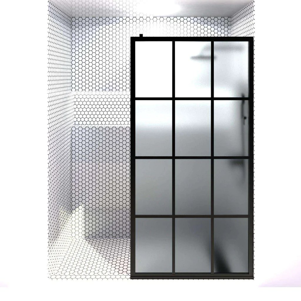 Gridscape Gs1 Shower Screen In Black With Satindeco Glass