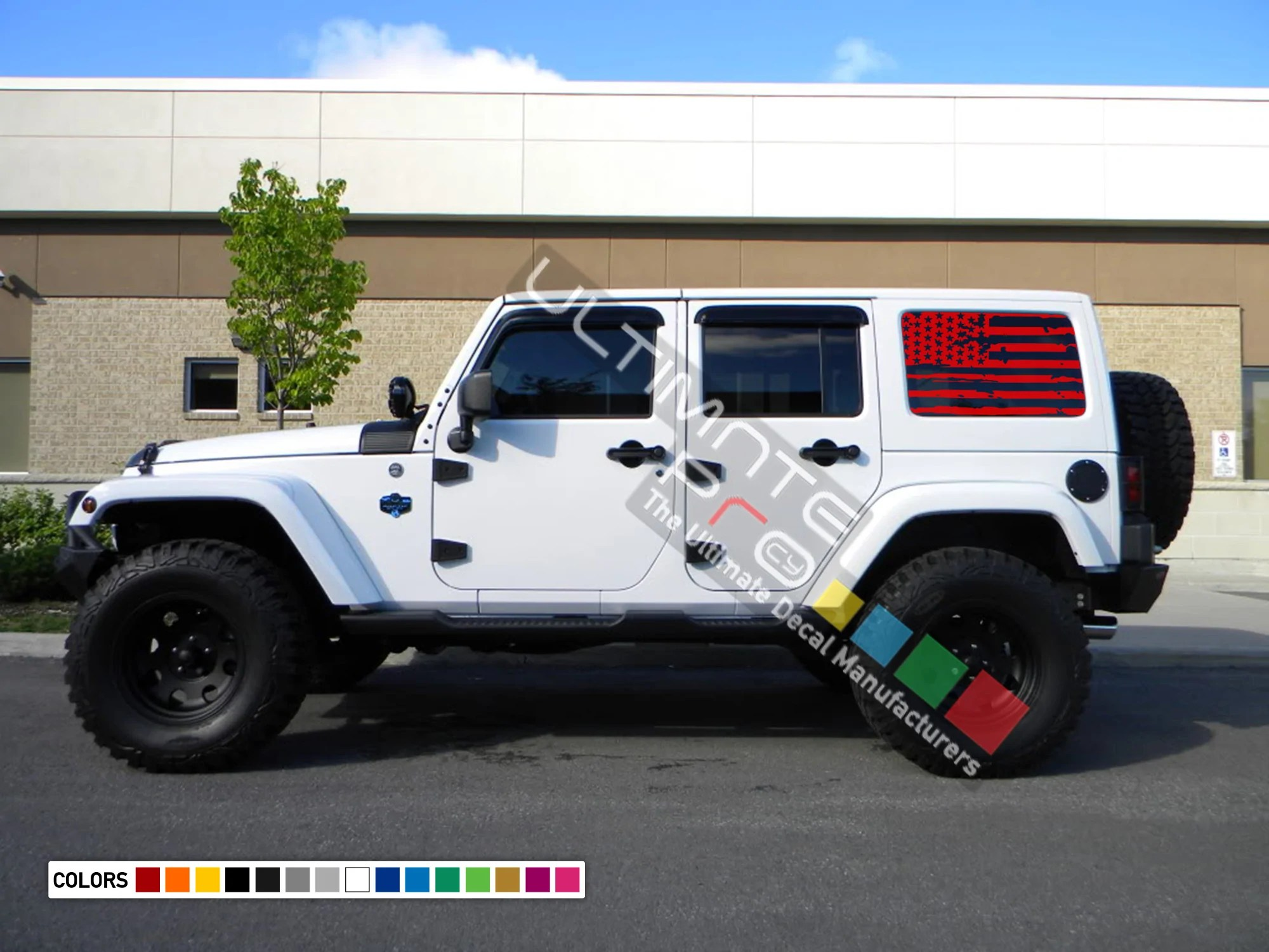 hight resolution of  bed window decal sticker vinyl destorder us american flag kit compatible with jeep wrangler jk 2007