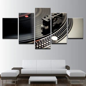 modern artwork for living room best place to purchase furniture 5 panel dj music instrument turntables poster wall art painting picture canvas printed home decor