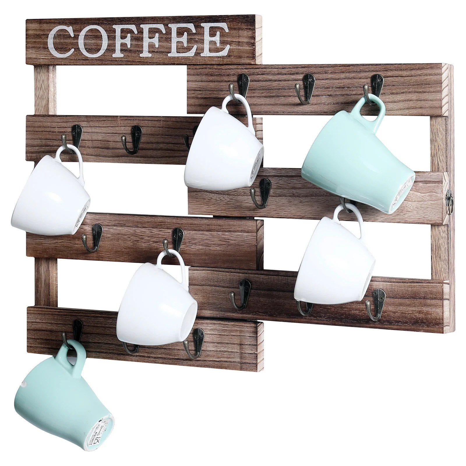 welland pull out coffee cup holder wall mounted mug rack for farmhouse coffee station decor two ways to display rustic wooden mug organizer for