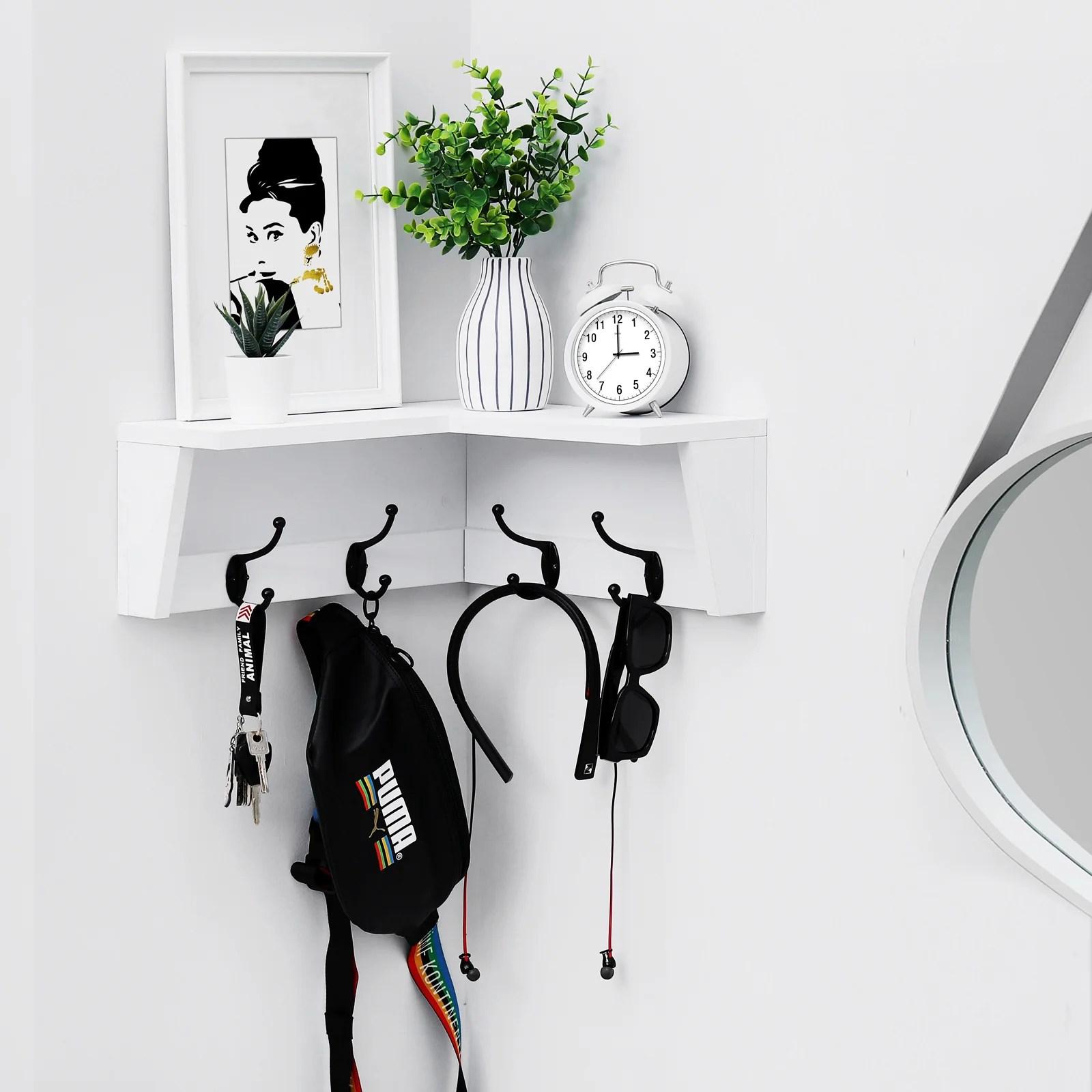 gocomfie wall mounted corner shelf with hooks corner floating shelf coat rack shelf with 4 hooks