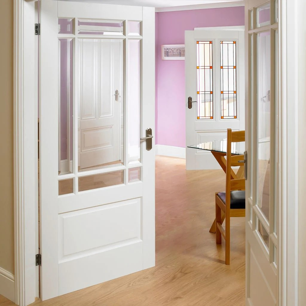 Downham Door Pair Bevelled Clear Glass White Primed