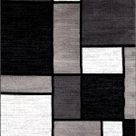 Box Pattern Gray Grey Black White Area Rug Modern Rugs And